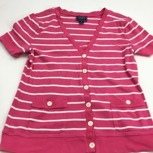 Full button striped light weight cardigan